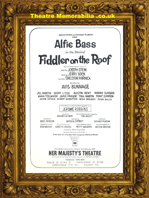 London Her Majesty S Theatre Fiddler On The Roof 1967